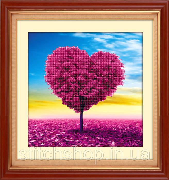 5D-025 Дерево кохання . LasKo. Наборы для рисования камнями 5D (частичная выкладка на холсте).