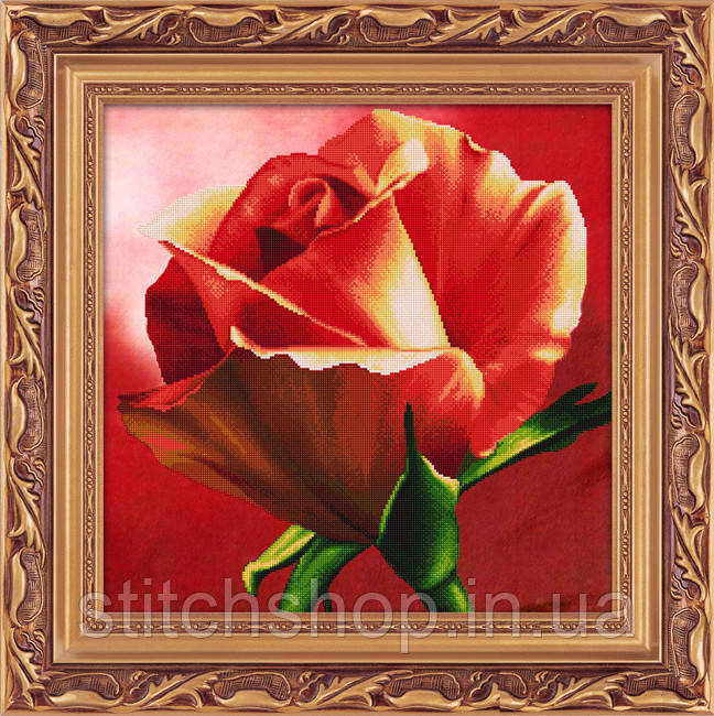 5D-054 Червона троянда . LasKo. Наборы для рисования камнями 5D (частичная выкладка на холсте).