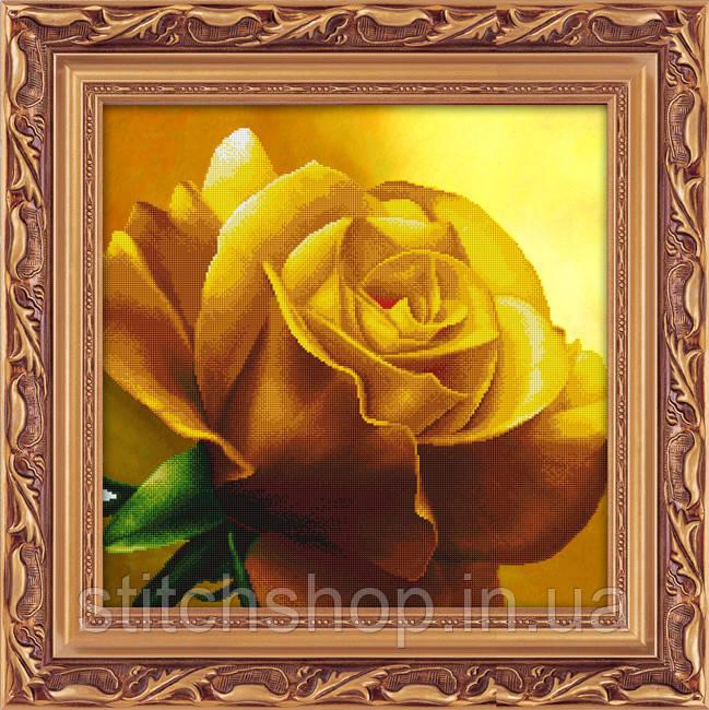5D-055 Жовта троянда . LasKo. Наборы для рисования камнями 5D (частичная выкладка на холсте).