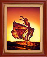 5D-070 Танец бабочки . LasKo. Наборы для рисования камнями 5D (частичная выкладка на холсте).