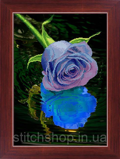 5D-033 Блакитна троянда . LasKo. Наборы для рисования камнями 5D (частичная выкладка на холсте).