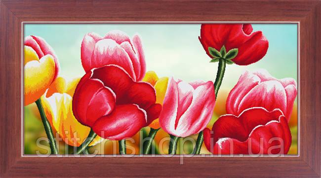 5D-039 Тюльпани . LasKo. Наборы для рисования камнями 5D (частичная выкладка на холсте).