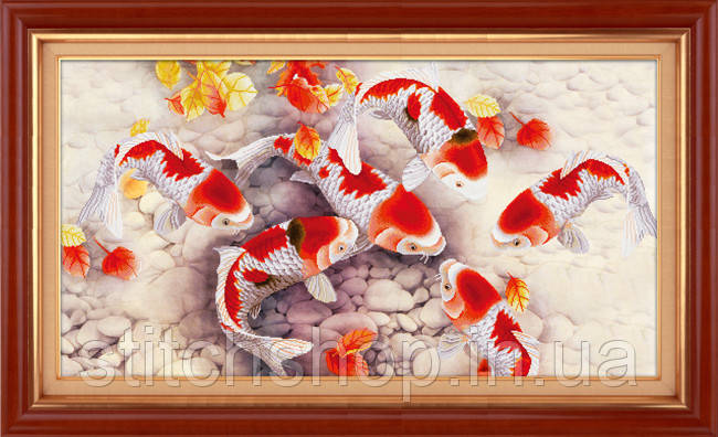 5D-040 Золоті рибки . LasKo. Наборы для рисования камнями 5D (частичная выкладка на холсте).