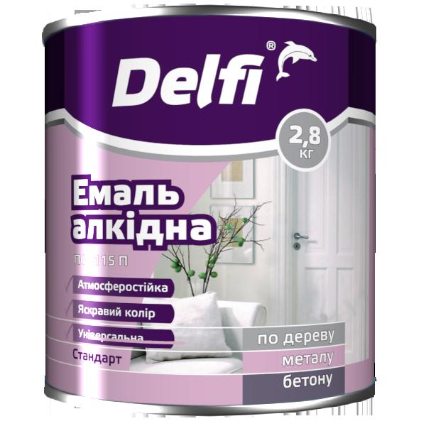 """Эмаль алкидная ПФ-115П TM """"Delfi"""" (тёмно-серая) 2,8 кг"""