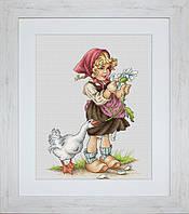 B1047 Девочка с гусем. Luca-S. Набор для вышивания нитками