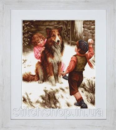 B540 Игра в снежки. Luca-S. Набор для вышивания нитками