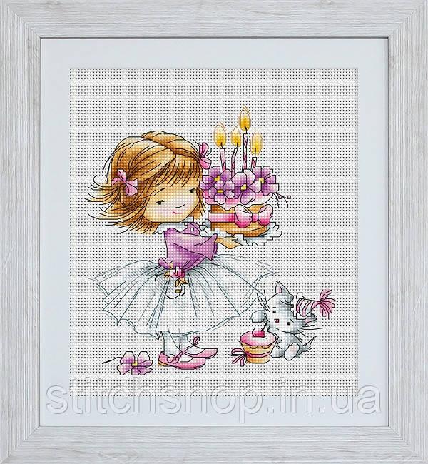 B1054 Девочка с котёнком и тортиком. Luca-S. Набор для вышивания нитками