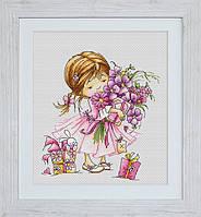 B1055 Девочка с букетом. Luca-S. Набор для вышивания нитками