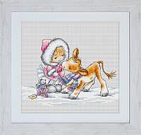 B1058 Девочка с телёнком. Luca-S. Набор для вышивания нитками