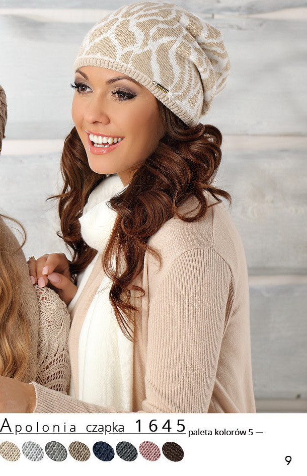 Красивая модная вязаная женская шапка Apolonia, Польша.