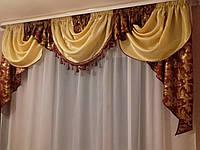 Ламбрекен из жаккардовой ткани с бахромой, бордо