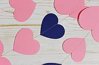 Бумажная гирлянда из сердец, розовый микс, фото 1