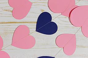 Бумажная гирлянда из сердец, розовый микс