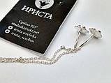 Серебряные серьги протяжки Цветочек, фото 4