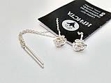 Серебряные серьги протяжки Цветочек, фото 2