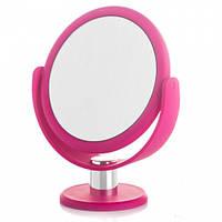 Поворотное косметическое зеркало 23х13 см. увеличение. Мягкое покрытие
