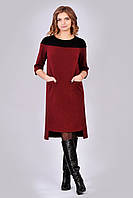 Оригинальное женское платье в стиле casual цвета марсала