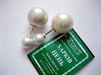 Серебряные серьги пусеты Диор с жемчугом