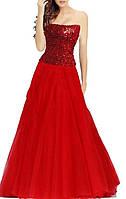 DL-5536 Блеск пайеток красного вечернего платья с пышной юбкой