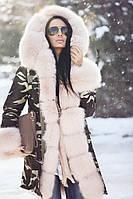 Женская Парка с опушкой и манжетами из меха Лисы 23 варианта Москва На стиле