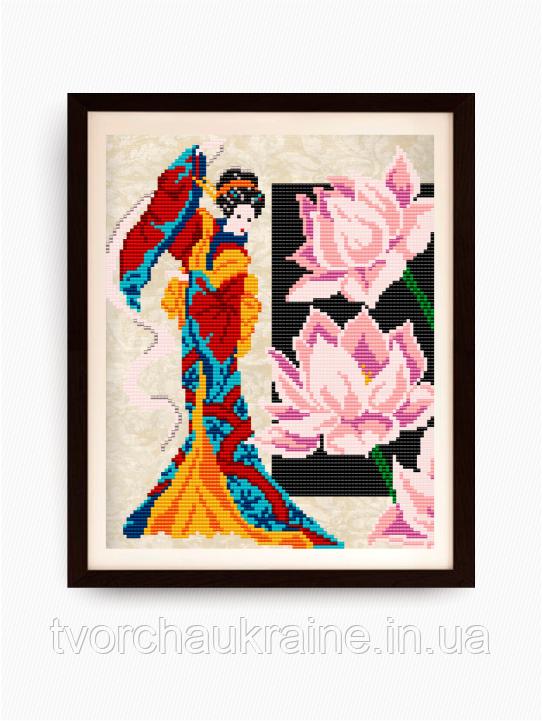 Авторская канва для вышивки бисером «Девушка с лотосом»