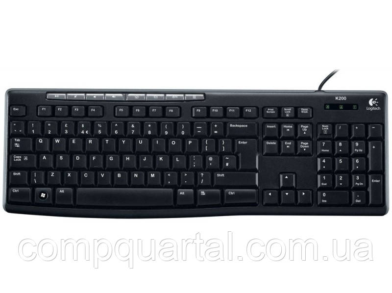 Клавіатура Logitech Media Keyboard K200 USB Black Rus (920-002746)