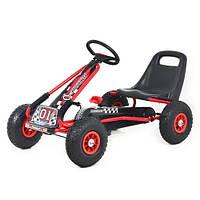 Детский веломобиль - педальный КАРТ М 0645-3 резиновое колесо (Красный)