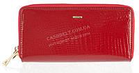 Стильный лаковый женский кожаный кошелек барсетка, две молнии высокого качества H.VERDE art. 2547TV-B62 красн