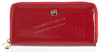 Стильный лаковый женский кожаный кошелек барсетка, две молнии высокого качества H.VERDE art. 2547TS-B62 красн