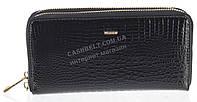 Стильный лаковый женский кожаный кошелек барсетка, две молнии высокого качества H.VERDE art. 2547V-67 черный