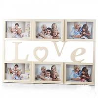 """Мультирамка """"Love"""" на 6 фотографий 50х34см цвет кремовый"""