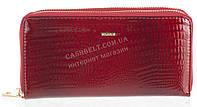 Стильный лаковый женский кожаный кошелек барсетка, две молнии высокого качества H.VERDE art. 2547V-44 бордовый
