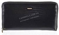 Лаковый женский кожаный кошелек барсетка под кожу рептилии высокого качества H.VERDE art. 2548V-67 черный