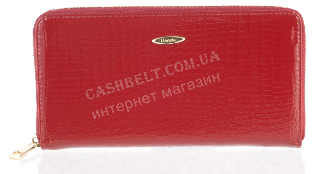 Лаковый женский кожаный кошелек барсетка под кожу рептилии высокого качества H.VERDE art. 2548U-B62 красный