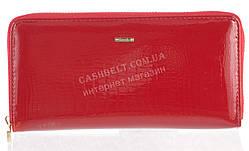 Лаковый женский кожаный кошелек барсетка под кожу рептилии высокого качества H.VERDE art. 2480TV-B62 красный