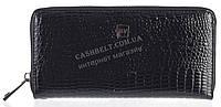 Лаковый женский кожаный кошелек барсетка под кожу рептилии высокого качества H.VERDE art. 2480R-67 черный
