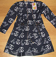 Платье для девочки с вставками из кожзама, рост 98-116, 210/230 грн.