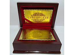 Карты (золото-пластик) в подарочном сундуке с оттиском 100 $.