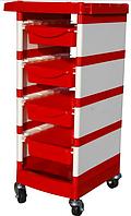 Тележка для парикмахера 5 полочки 525 красная YRE