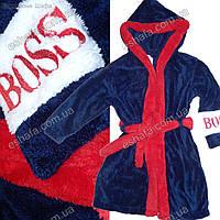 Махровый  халат для маленького мужчины BOSS синий