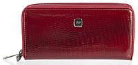 Стильный лаковый женский кожаный кошелек барсетка, две молнии высокого качества H.VERDE art. 2547R-44 бордовый