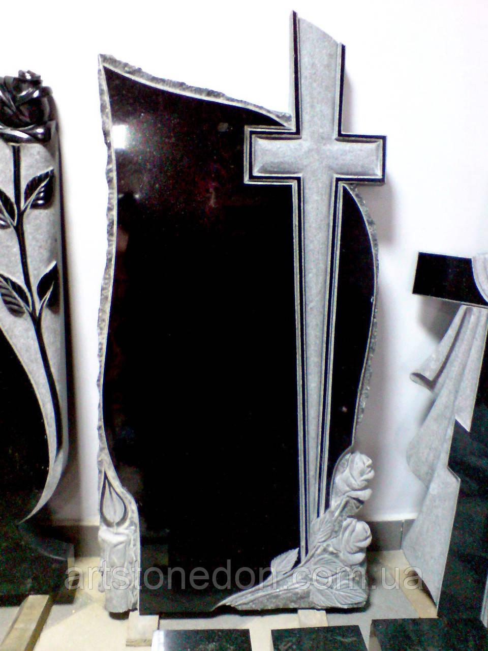 Памятники из гранита.  Крест, розы и свеча
