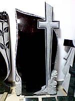 Памятники из гранита.  Крест, розы и свеча, фото 1