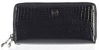 Стильный лаковый женский кожаный кошелек барсетка, две молнии высокого качества H.VERDE art. 2547R-67 черный