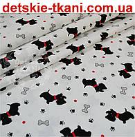 """Ткань хлопковая """"Собачки с красными ошейниками"""" № 549а"""