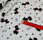 """Ткань хлопковая """"Собачки с красными ошейниками"""" № 549а, фото 3"""