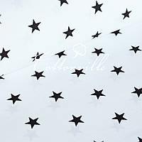 ✁ Отрезы бязи Черные звездочки (20 мм)