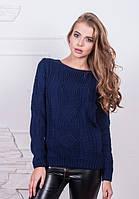 Вязаный свитер с орнаментом темно-синего цвета