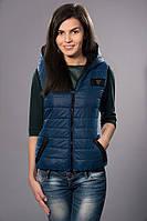 Жилетка женская молодежная утепленная. Код модели ЖЛ-05-12-14. Цвет светло синий.
