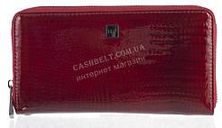 Лаковый женский кожаный кошелек барсетка под кожу рептилии высокого качества H.VERDE art. 2548R-44 бордовый